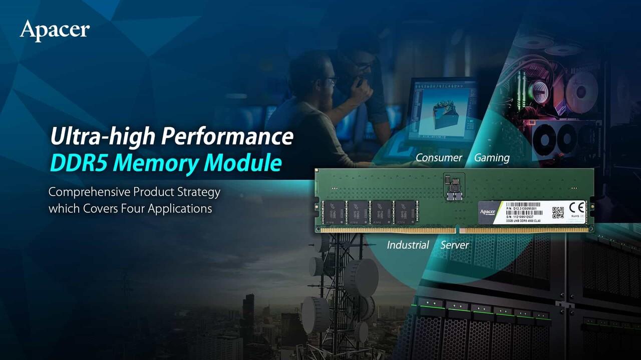 UDIMM, RDIMM, SO-DIMM: Apacer trae RAM DDR5 para CPU AMD Zen 4 e Intel