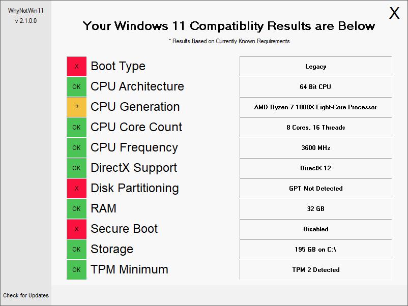 WhyNotWin11 mostrando resultados de hardware