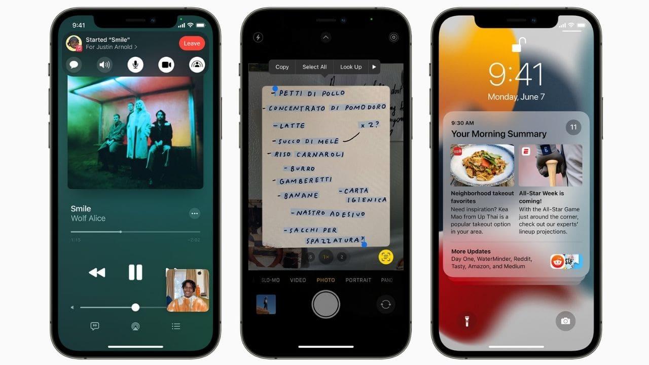 iOS 15 obtiene un resumen de notificaciones, un nuevo modo de enfoque, SharePlay y más.  Imagen: Apple