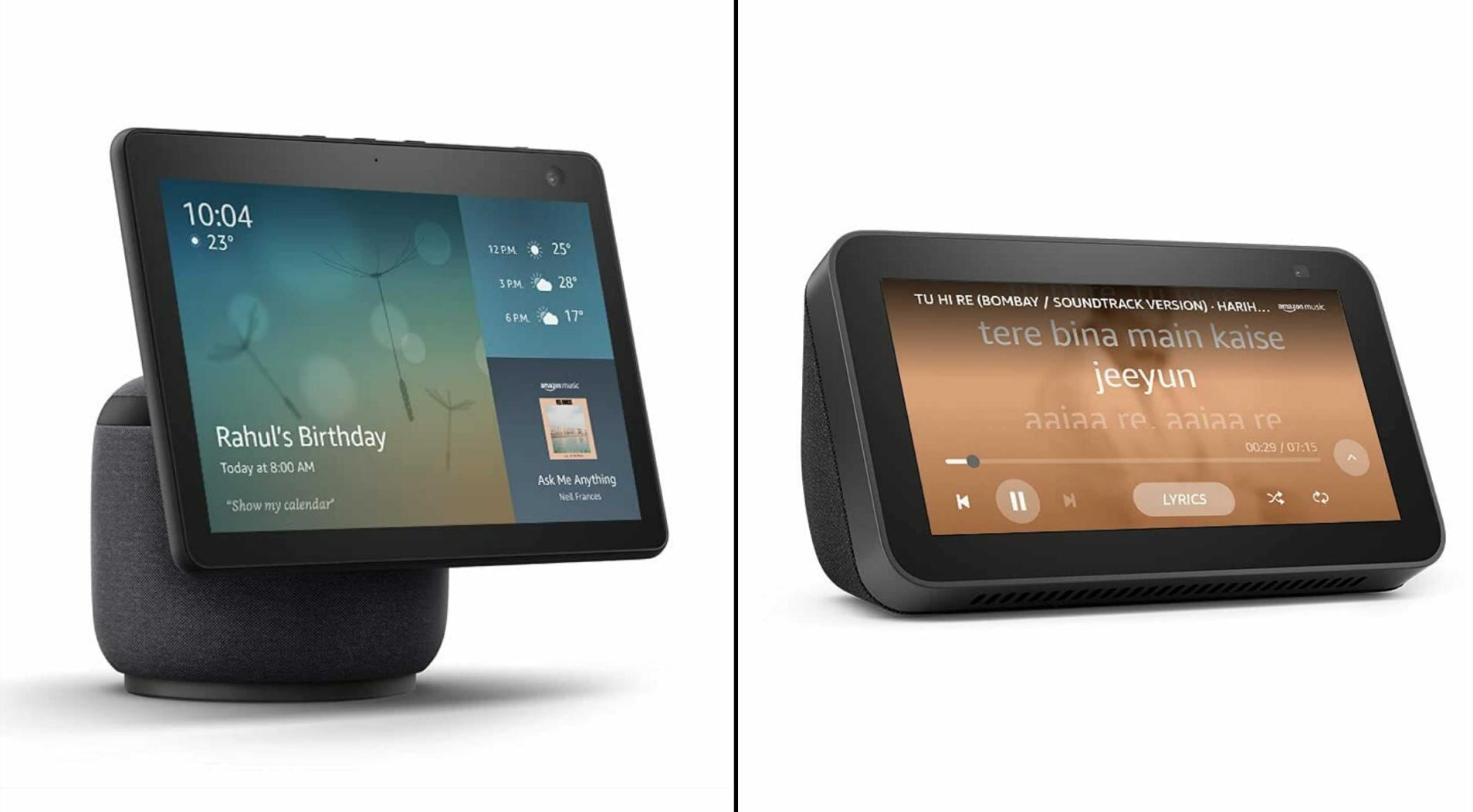 The Amazon Echo Show 10 (left) costs Rs 24,999, while the Echo Show 5 costs Rs 6,999 for a limited period. Image: Amazon