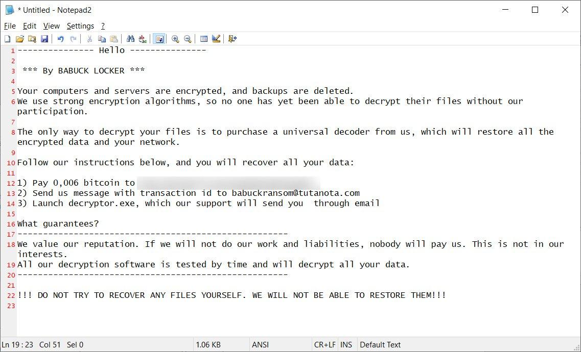 Nota de ransomware del nuevo ataque de ransomware Babuk