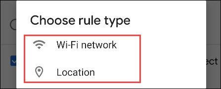 elija wifi o ubicación para el disparador