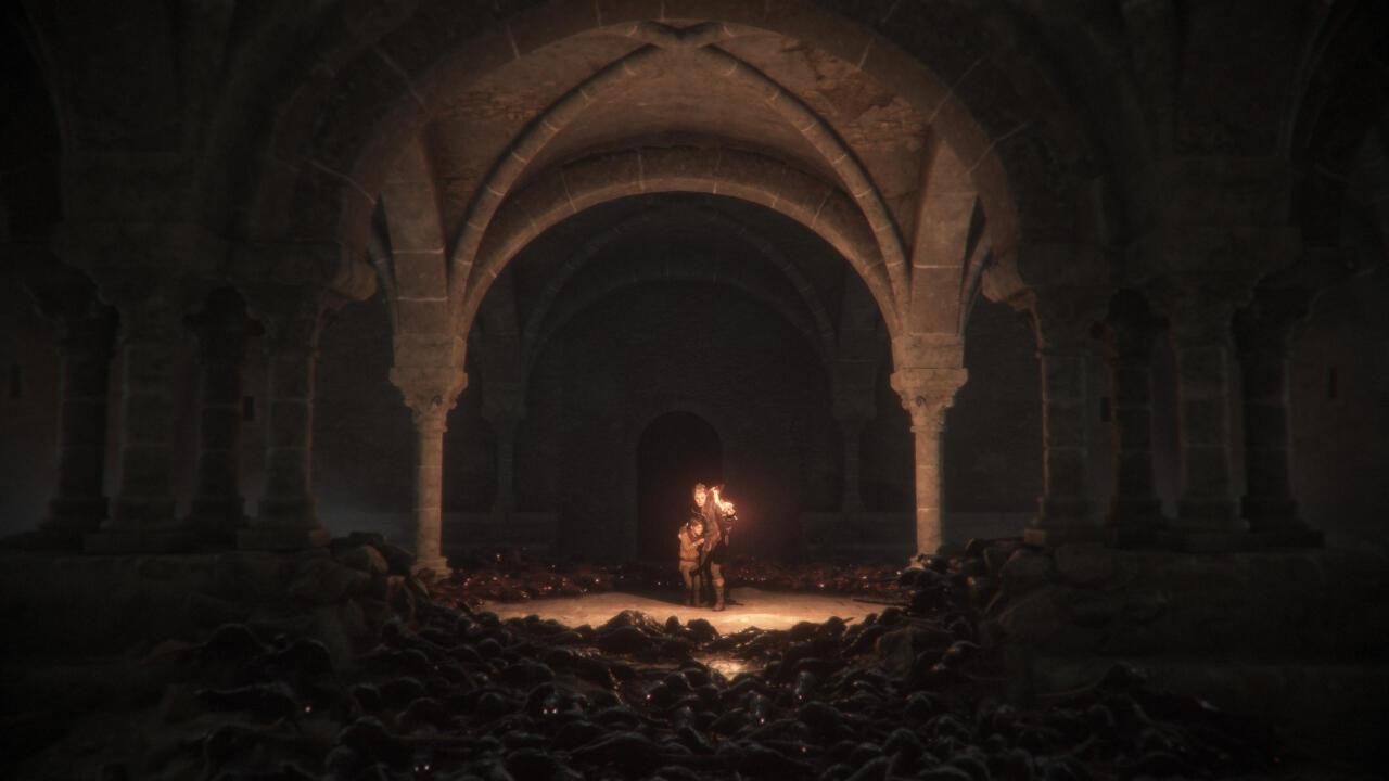 Cuando juegas en Switch en la computadora de mano, puede ser difícil ver a dónde vas o qué tienes que hacer a continuación en los momentos más oscuros de A Plague Tale.