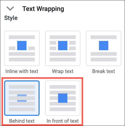 Expanda el ajuste de texto y elija Detrás del texto o Delante del texto