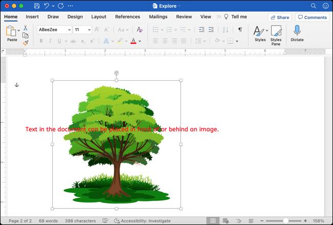 Imagen detrás del texto de Google Docs a Word