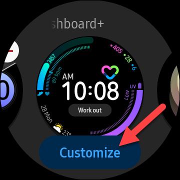 """Toque en el """"Personalizar"""" botón si está disponible para cambiar el aspecto de la esfera del reloj"""
