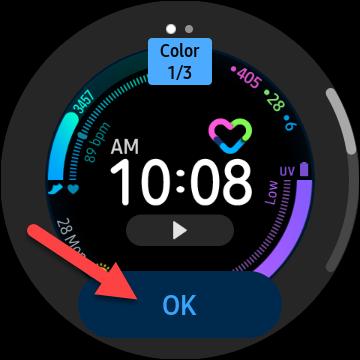 """Grifo """"OK"""" para confirmar que desea utilizar la esfera del reloj personalizada"""