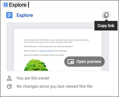 Haga clic en Copiar enlace en el chip inteligente para un archivo