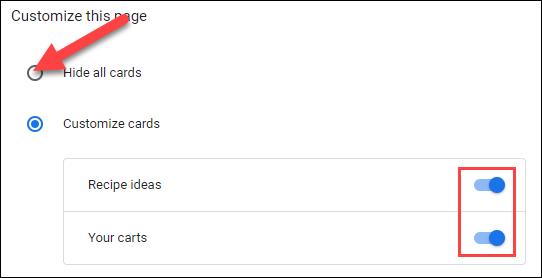 Personaliza las tarjetas o apágalas todas.