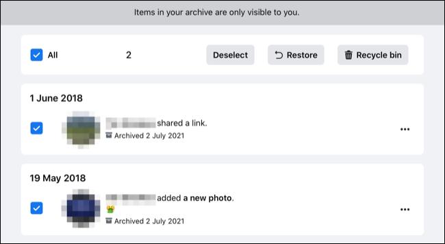 Restauración de publicaciones de archivo en Facebook.com