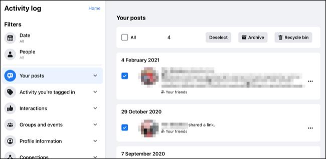 Archivar publicaciones en masa en Facebook.com