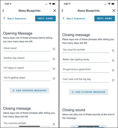 Personaliza los mensajes de apertura y cierre de Alexa