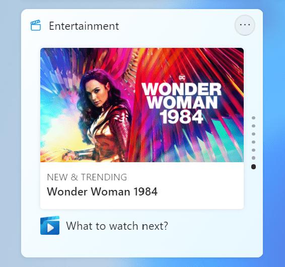 Windows 11 Build 22000.71: nuevo widget para entretenimiento