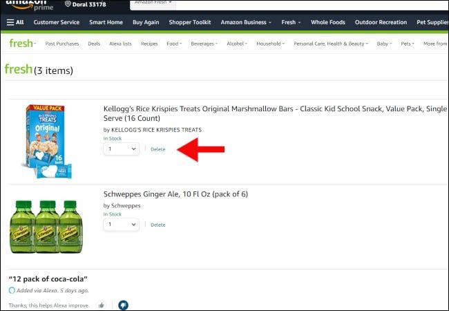 Página del carrito de compras de Amazon Fresh.