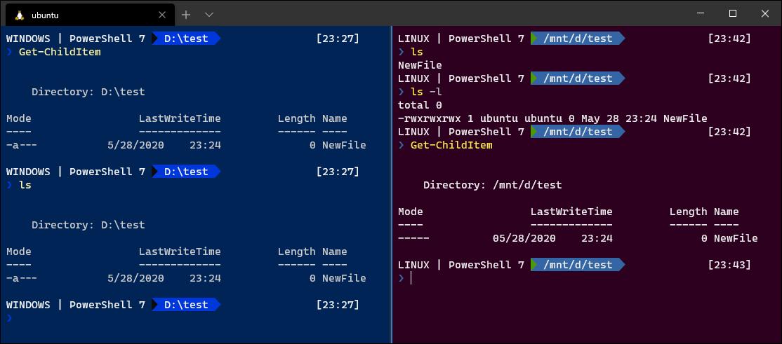 ls y Get-ChildItem ejecutándose en Windows 10 frente a Ubuntu Linux