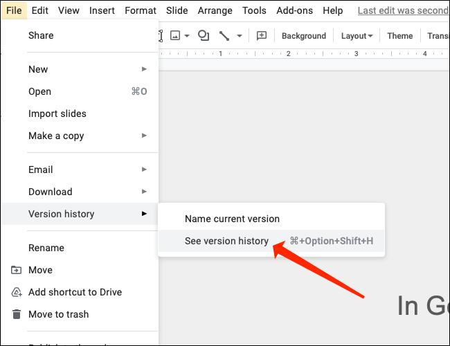 """Para comprobar las versiones antiguas de su presentación de Presentaciones de Google, seleccione """"Ver historial de versiones."""""""