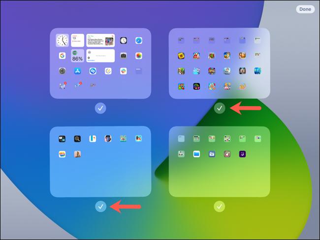 Edición de pantalla, marcas de verificación para mostrar pantallas