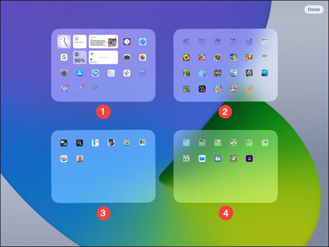 Disposición de la pantalla en un iPad