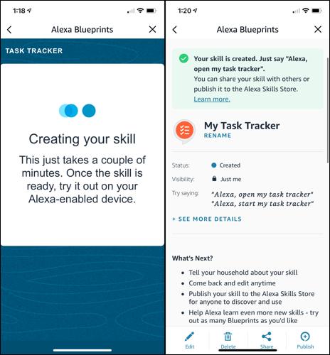 Alexa creando la habilidad Task Tracker y mostrando detalles