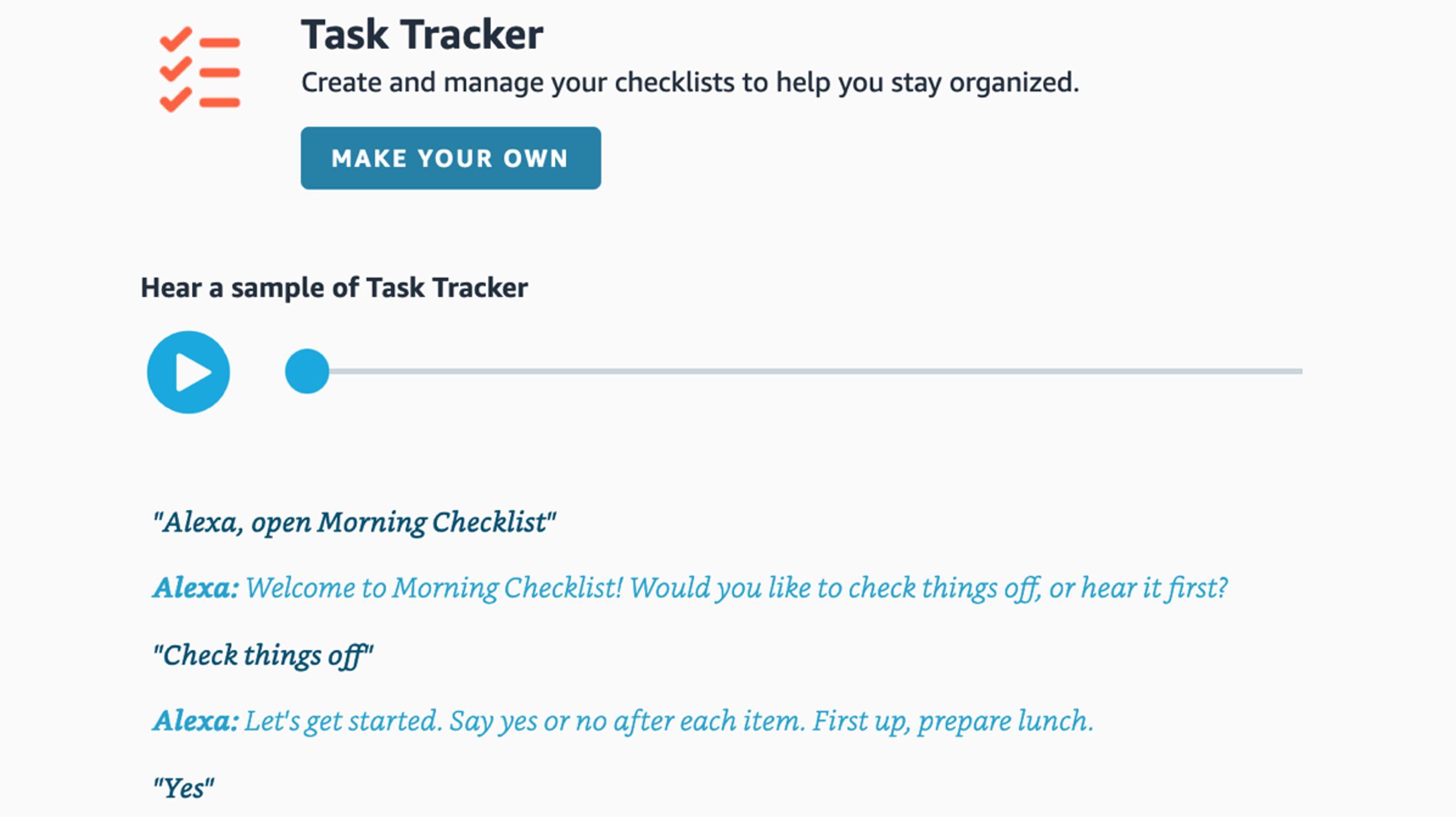 Cómo crear una lista de verificación de tareas con Amazon Alexa