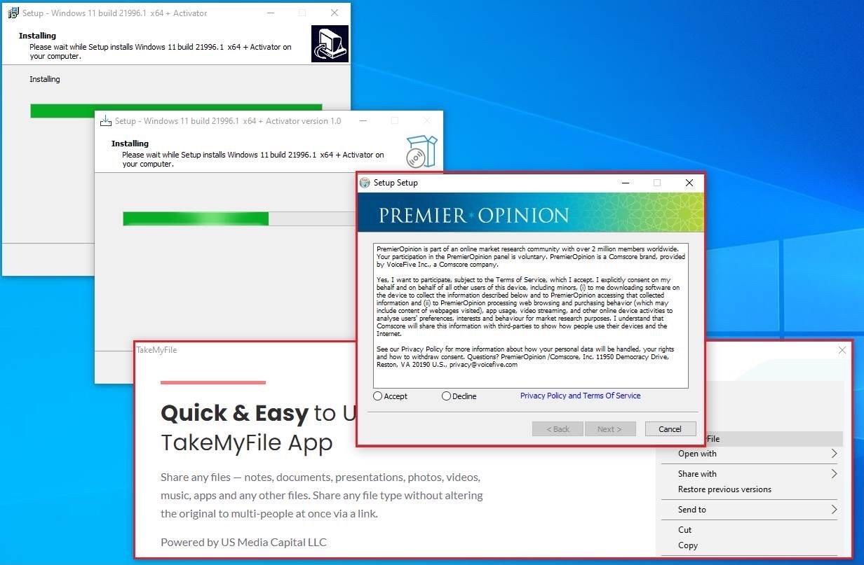 Instalador falso de Windows 11