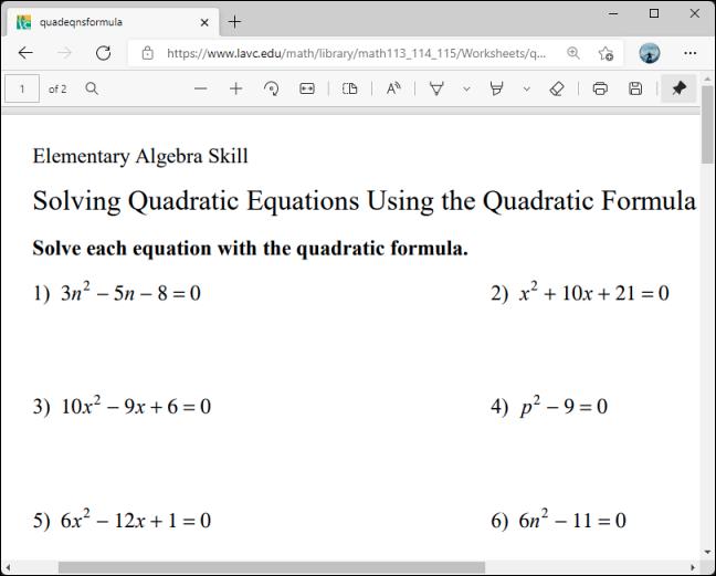 Abra el sitio o documento en línea con los problemas matemáticos que desea resolver.