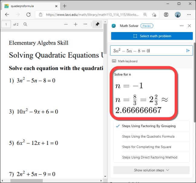 Math Solver muestra la solución del problema.