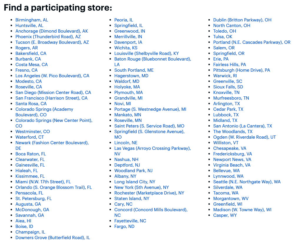 Tiendas Best Buy participantes