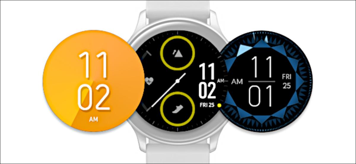 Varias esferas de reloj junto a un Samsung Galaxy Watch