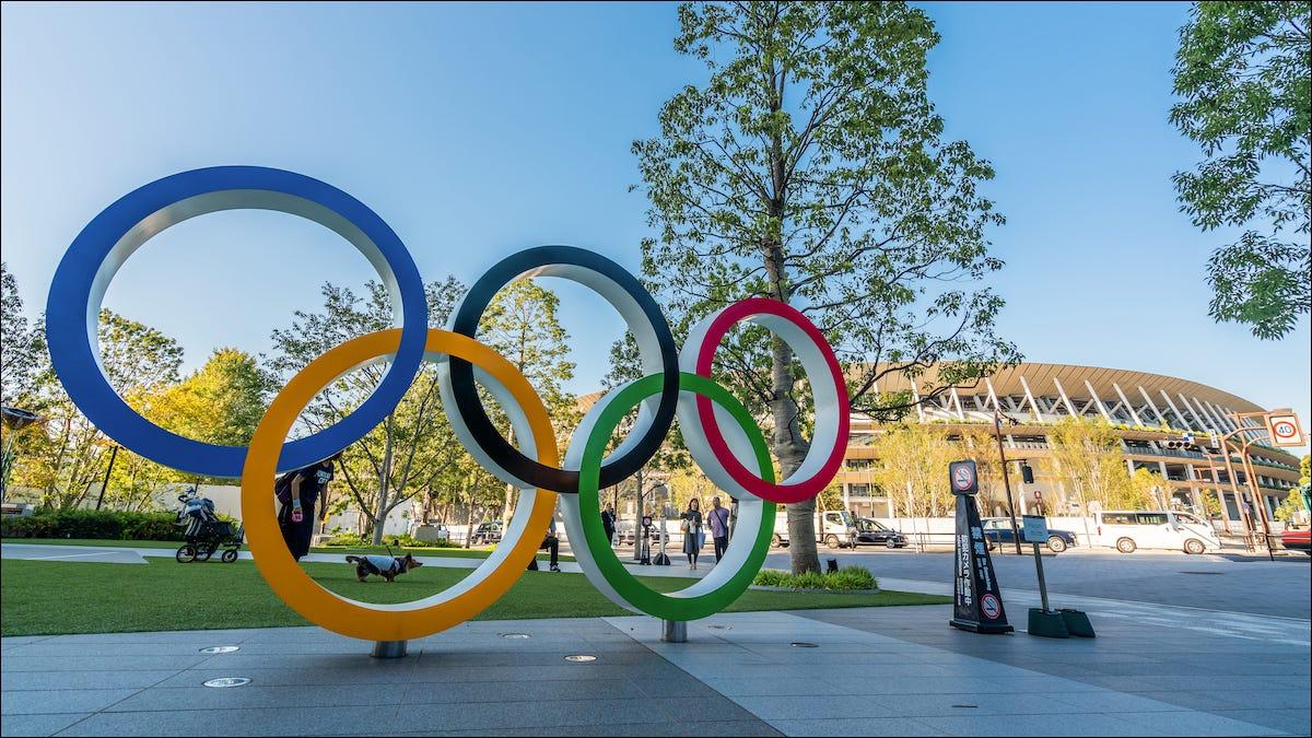 Los anillos olímpicos en Tokio, Japón