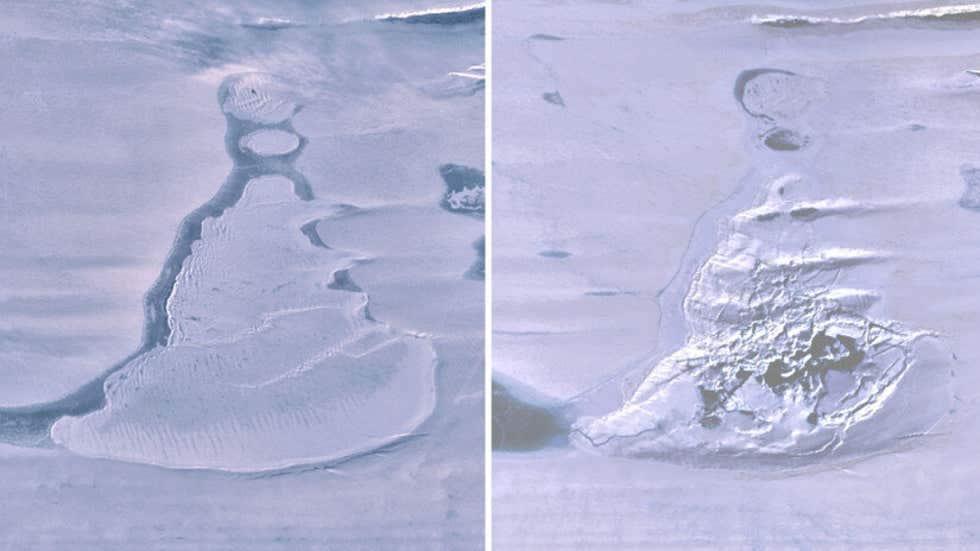 Imágenes de Landsat 8 sobre la plataforma de hielo del sur de Amery muestran el lago cubierto de hielo antes del drenaje y la dolina de hielo resultante con agua de deshielo de verano.  Imagen: Cartas de investigación geofísica