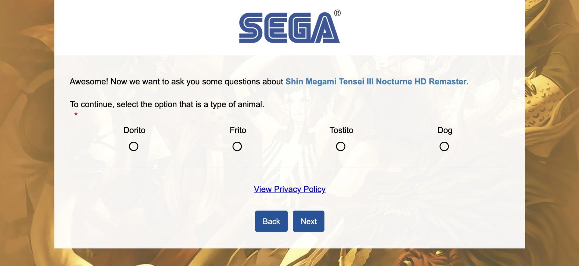 Encuesta SMT III Nocturne HD Remaster Atlus