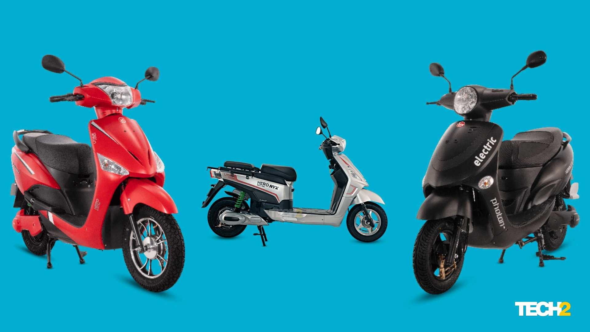 La gama de scooters de velocidad media de Hero Electric ha experimentado una caída drástica en los precios después de la introducción de subsidios estatales.  Imagen: Tech2 / Amaan Ahmed