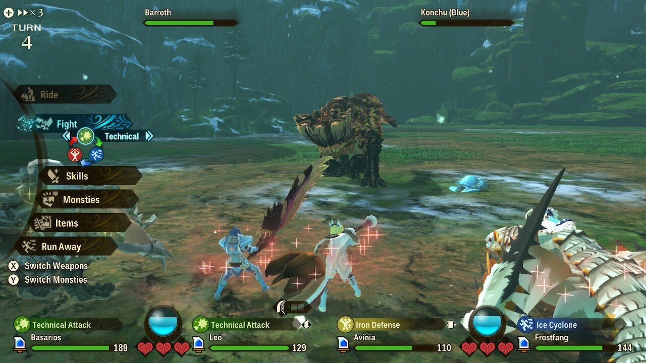 Monster Hunter Stories 2 adopta un enfoque más táctico del combate en comparación con otros juegos, lo que te permite elegir tus ataques y movimientos de apoyo en encuentros por turnos.
