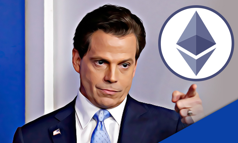 Picture of Anthony Scaramucci, CEO of Skybridge Digital, point to an Ethereum coin
