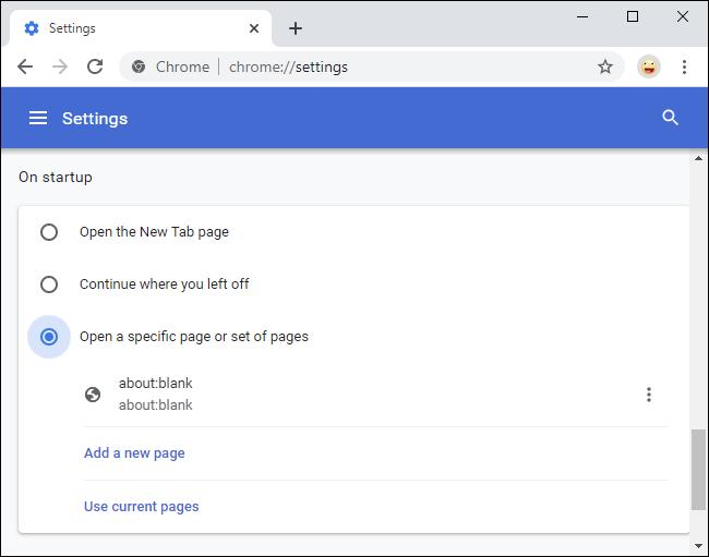 Eliminando acerca de: página de inicio en blanco de Chrome
