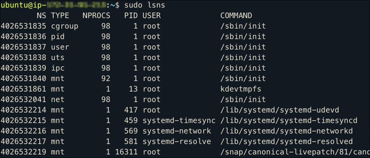 Espacios de nombres de Linux