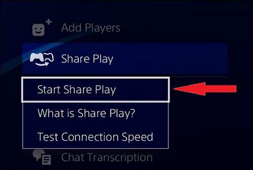 """Seleccione """"Inicie Share Play."""""""