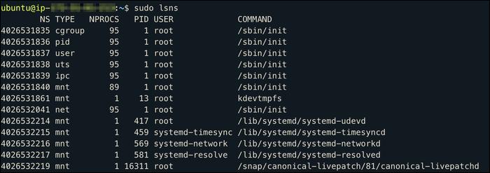 Utilice el comando lsns (ls-namespaces) para ver los espacios de nombres actuales