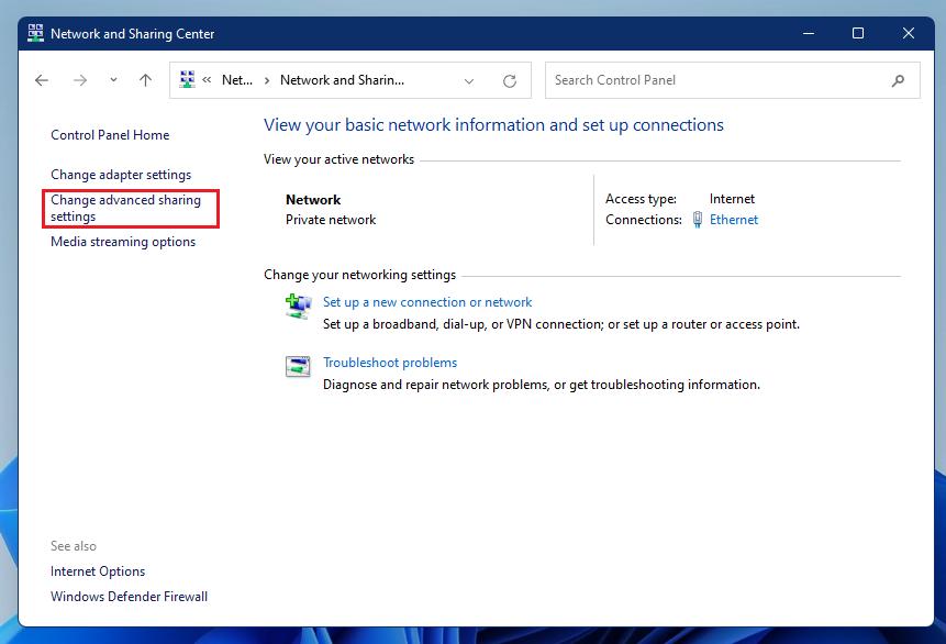 Windows 11 cambiar la configuración de uso compartido avanzado