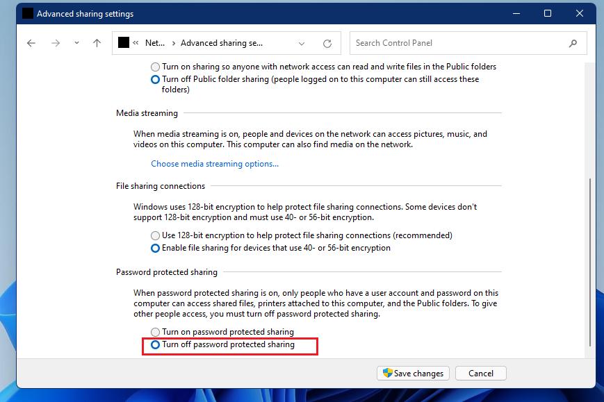 Windows desactiva el uso compartido protegido con contraseña