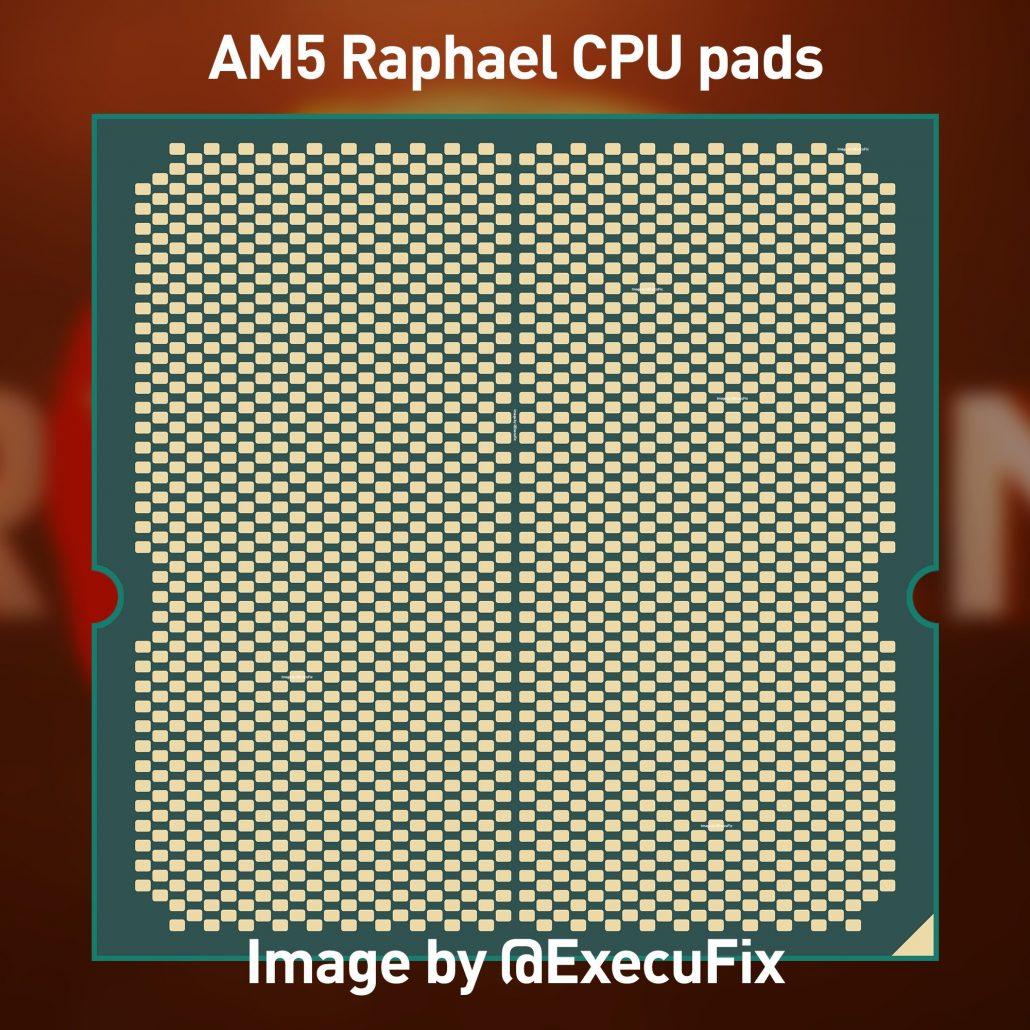 Maqueta de CPU de escritorio AMD Zen 4 'Raphael' Ryzen en la imagen, diseñada para zócalo AM5 LGA1718 y hasta 170 W TDP