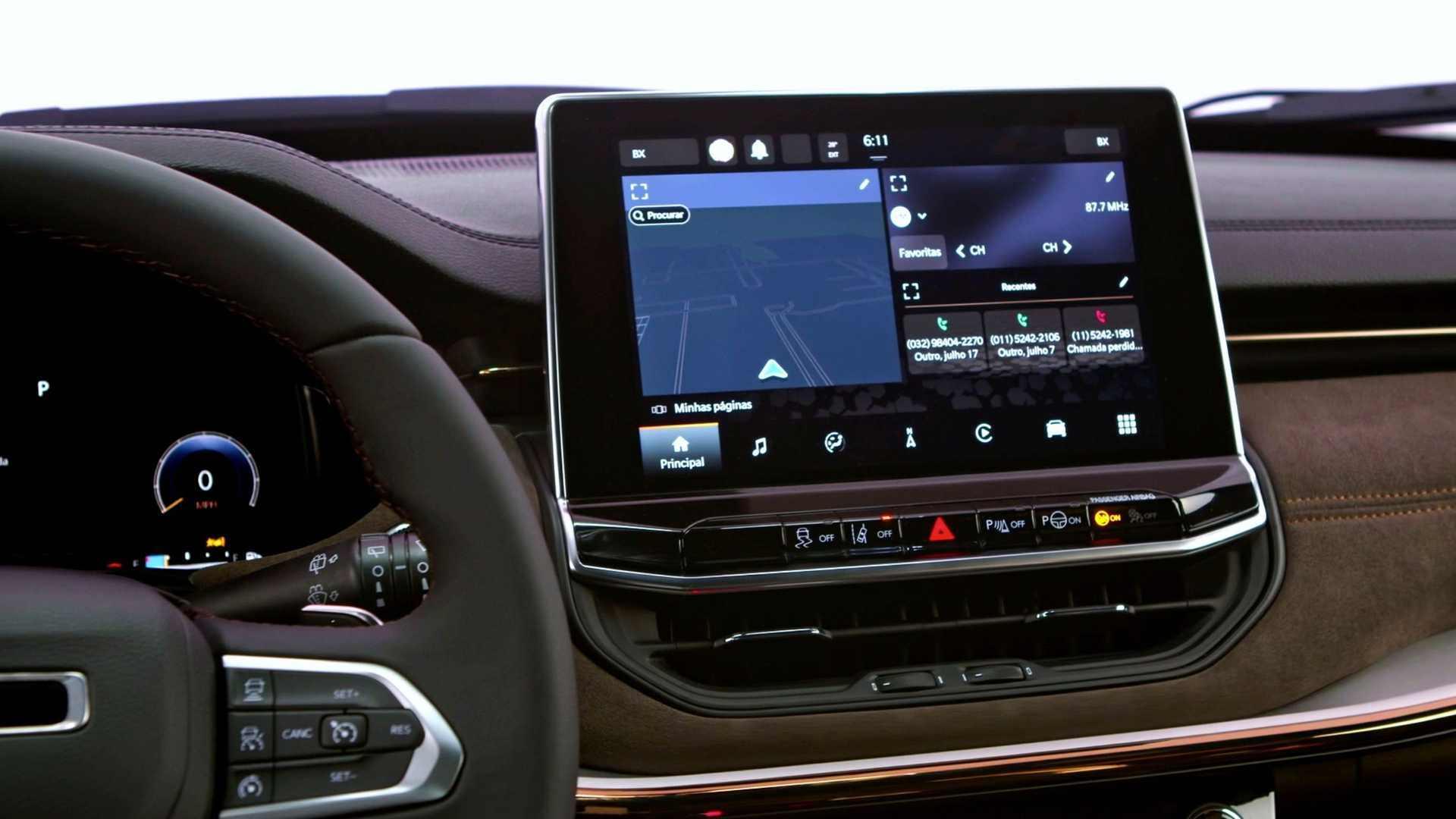 El Meridian contará con inserciones de paneles de gamuza con costuras de cobre y tapicería de cuero marrón.  Imagen: Jeep