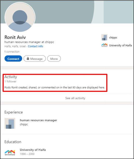 Perfil falso de LinkedIn para el gerente de recursos humanos de ChipPC