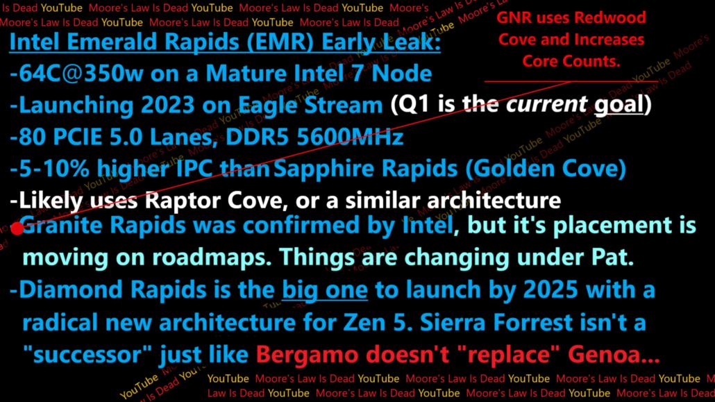 Se han detallado las CPU Xeon de próxima generación de Intel, que incluyen Emerald Rapids-SP, Granite Rapids-SP y Diamond Rapids-SP.  (Fuente de la imagen: MLID)