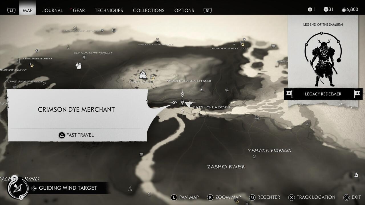 La ubicación de la tienda Crimson Dye Merchant aparece en tu mapa después de completar el torneo de duelo en Fune's Refuge.