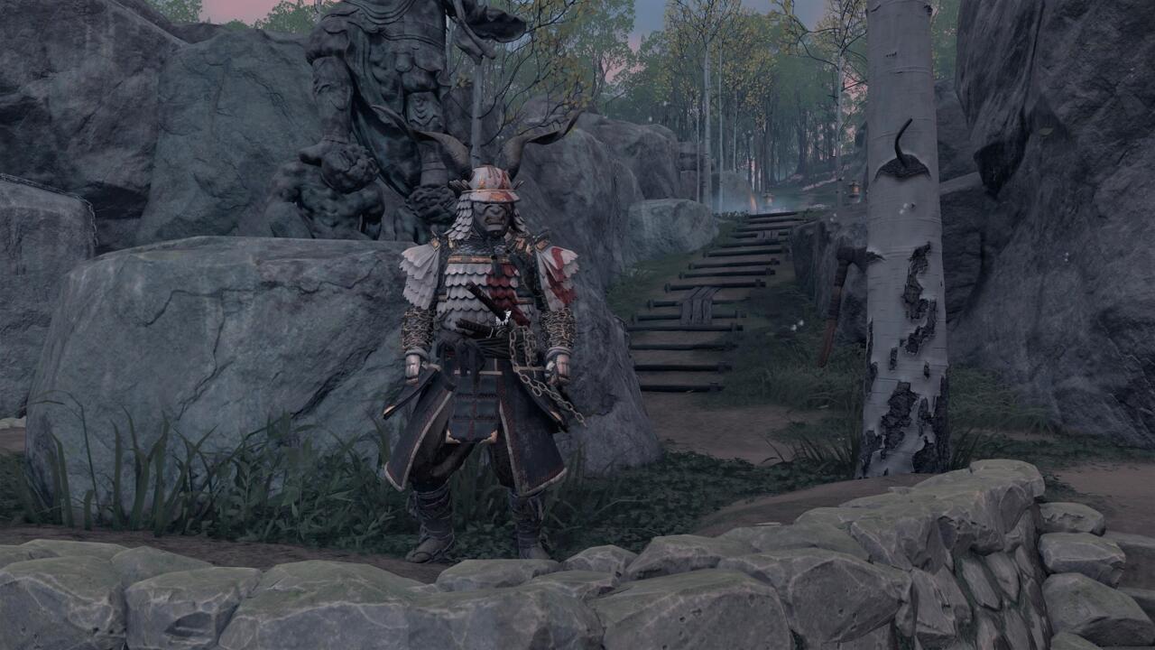 Puedes conseguir una armadura de Kratos bastante atractiva si puedes resolver el acertijo en el Santuario de Ash en la costa este de la isla Iki.
