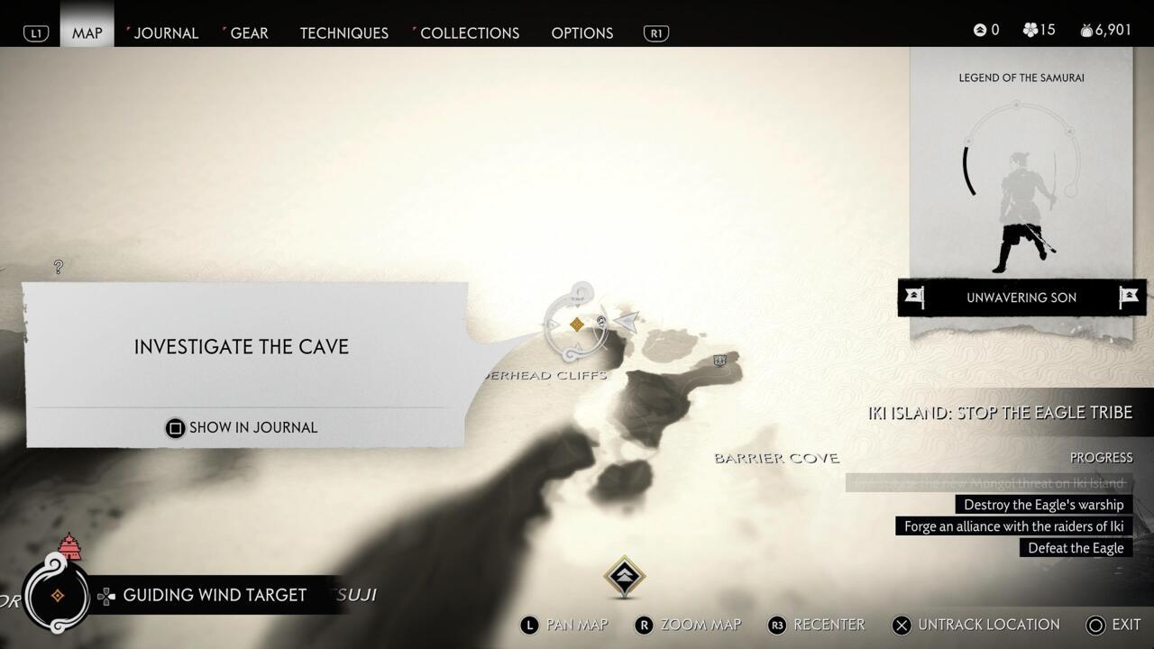 Busque la cueva en la esquina noreste de la isla Iki;  aventúrate dentro para encontrar la armadura perdida de Black Hand Riki.