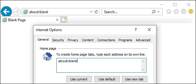 Impedir que Internet Explorer se abra con about: blank