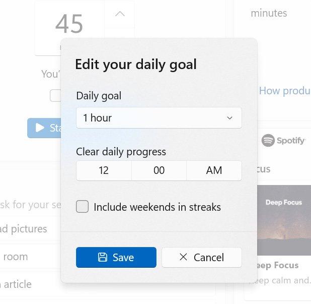 Ajustar las metas diarias